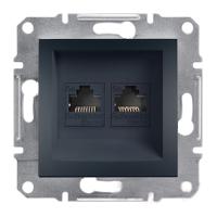 Розетка компьютерная двойная RJ45 категория 5E UTP Антрацит Schneider Asfora plus (EPH4400171), фото 1