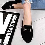 Стильные кожаные и замшевые женские туфли лоферы с декором, фото 4
