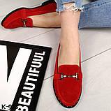 Стильные кожаные и замшевые женские туфли лоферы с декором, фото 9