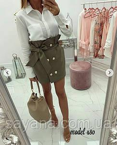 Женская юбка мини на пуговицах в расцветках, р-р 46-50. НО-2-1-0419