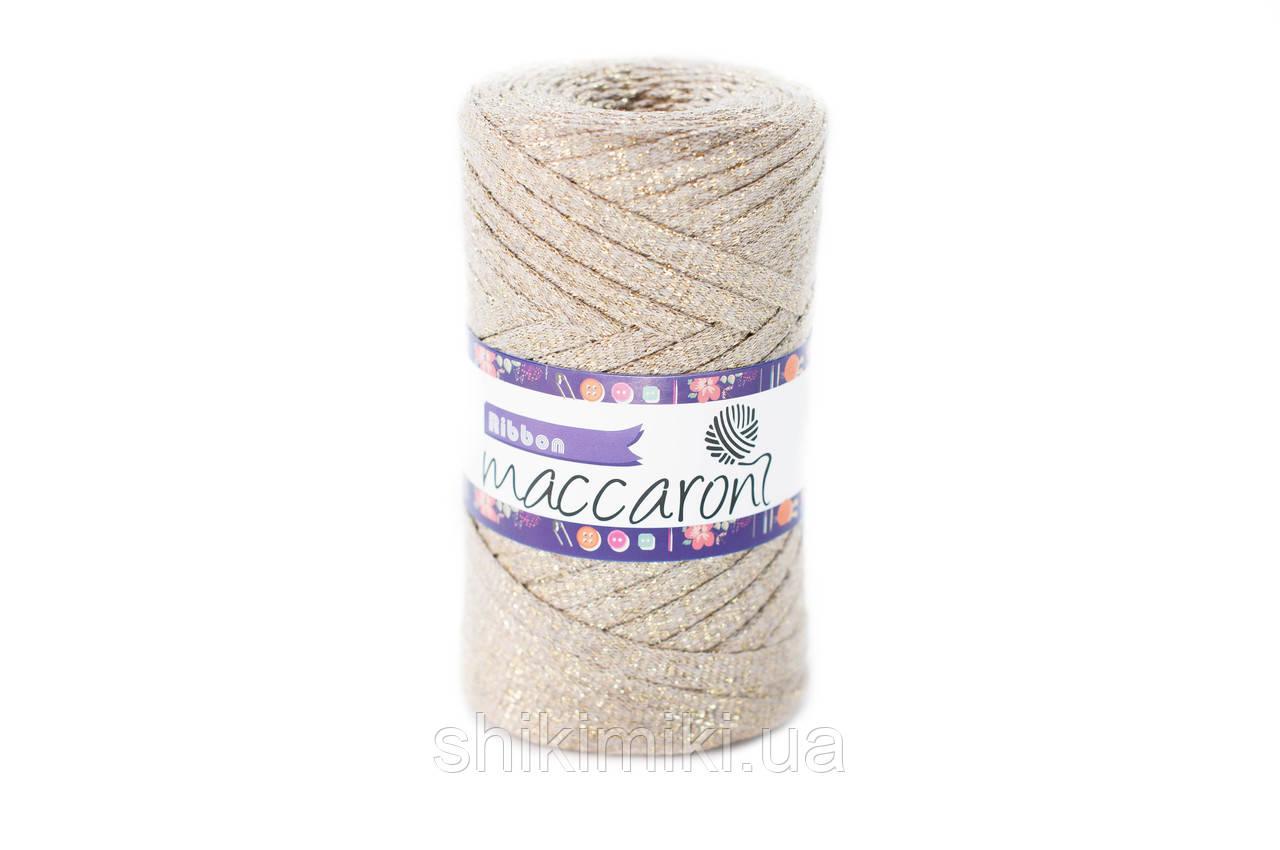 Трикотажный плоский шнур Ribbon Glitter, цвет Карамель
