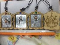 Деревянные медальоны, иконы и крестики на шею или в авто