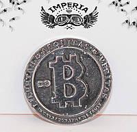 Сувенирная монета Биткоин серебряная