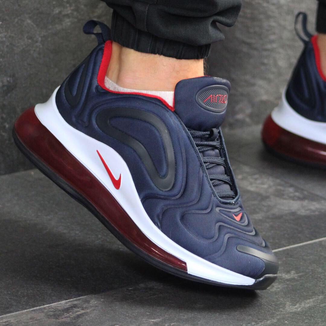 22b94968 Мужские беговые кроссовки Nike 7616 темно синие с белым с красным купить  дёшево