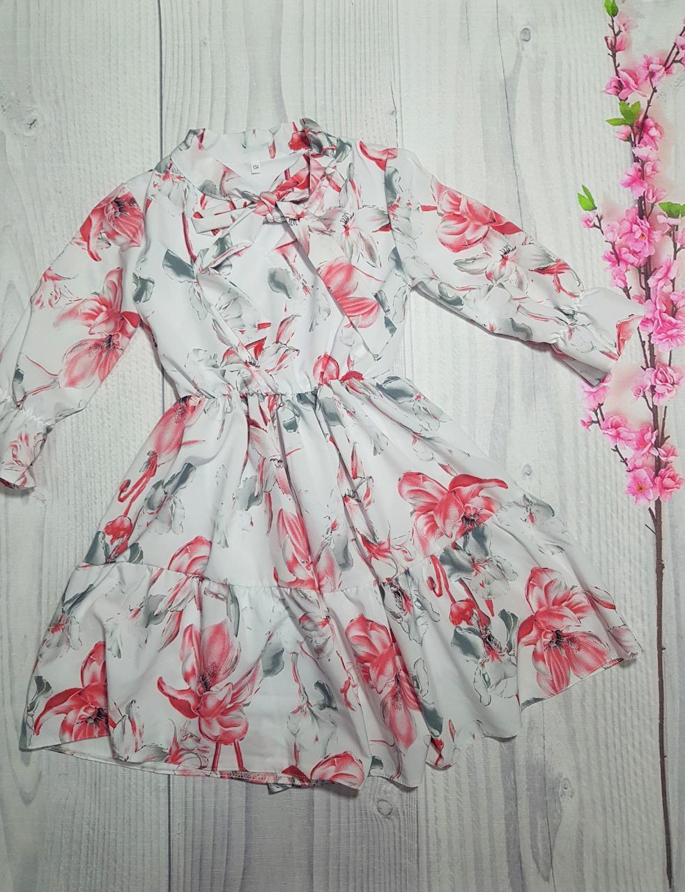 Весеннее платье для девочки в цветочный принт р. 134-152