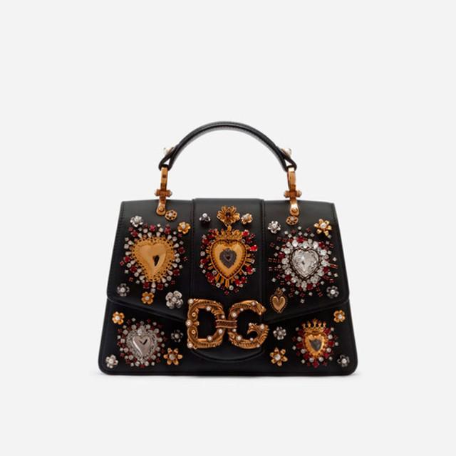 Женская сумочка из телячьей кожи DG AMORE | черная. Вид спереди