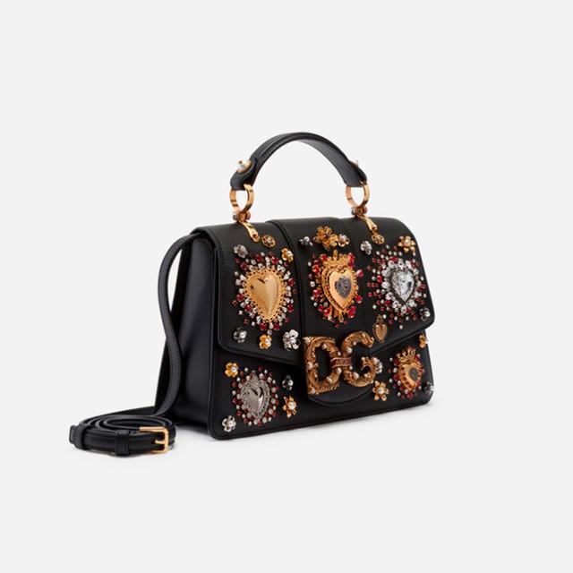 Женская сумочка из телячьей кожи DG AMORE | черная. Вид сбоку