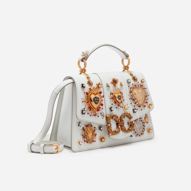Женская сумочка из телячьей кожи DG AMORE | белая. Вид сбоку.