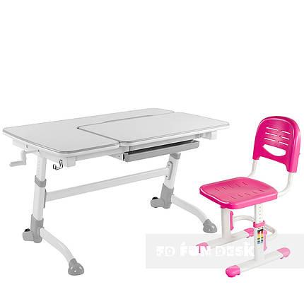 Комплект подростковая парта Amare Grey + детский стул SST3 Pink FunDesk , фото 2