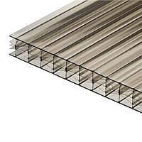 Сотовый бронзовый (светло-коричневый) поликарбонат 16 мм тмPolygal (лист 2,1*6,0 м)