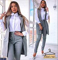 Костюм женский серый. Жилет и брюки. Ткань костюмный бенгалин, размер 42-44