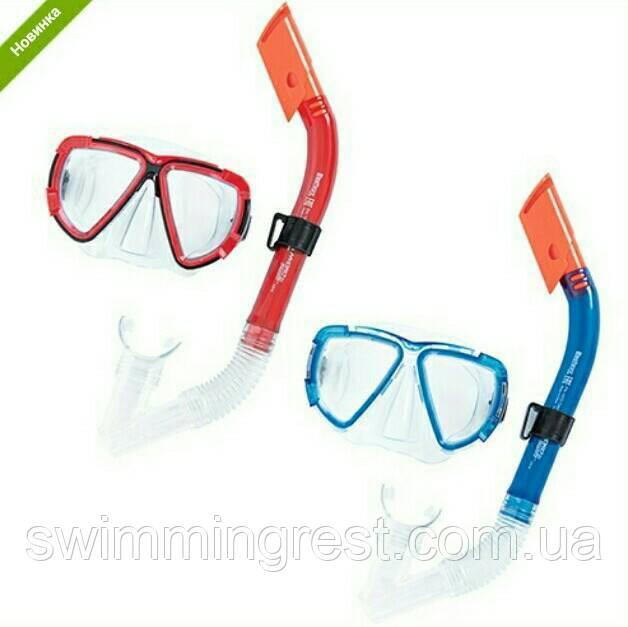 Маска для плавания BestWay 24029, комплект с трубкой, маска для ныряния, взрослая 14+