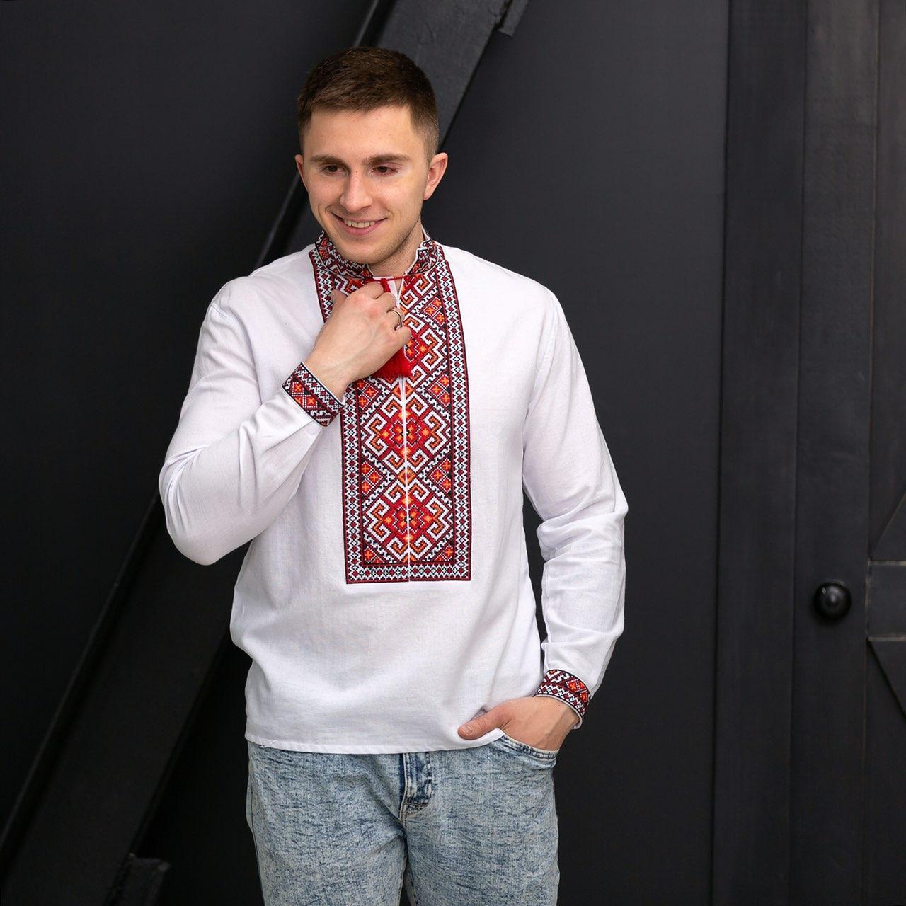 Мужская вышиванка Святослав на домотканом полотне