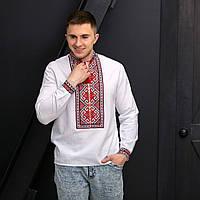 Мужская вышиванка Святослав на домотканом полотне, фото 1