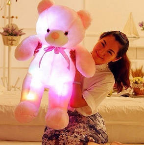 Плюшевые, светящиеся мишки. Милые мягкие игрушки медвежата, со светодиодной подсветкой 50см розовые., фото 2