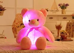 Плюшевые, светящиеся мишки. Милые мягкие игрушки медвежата, со светодиодной подсветкой 50см розовые.