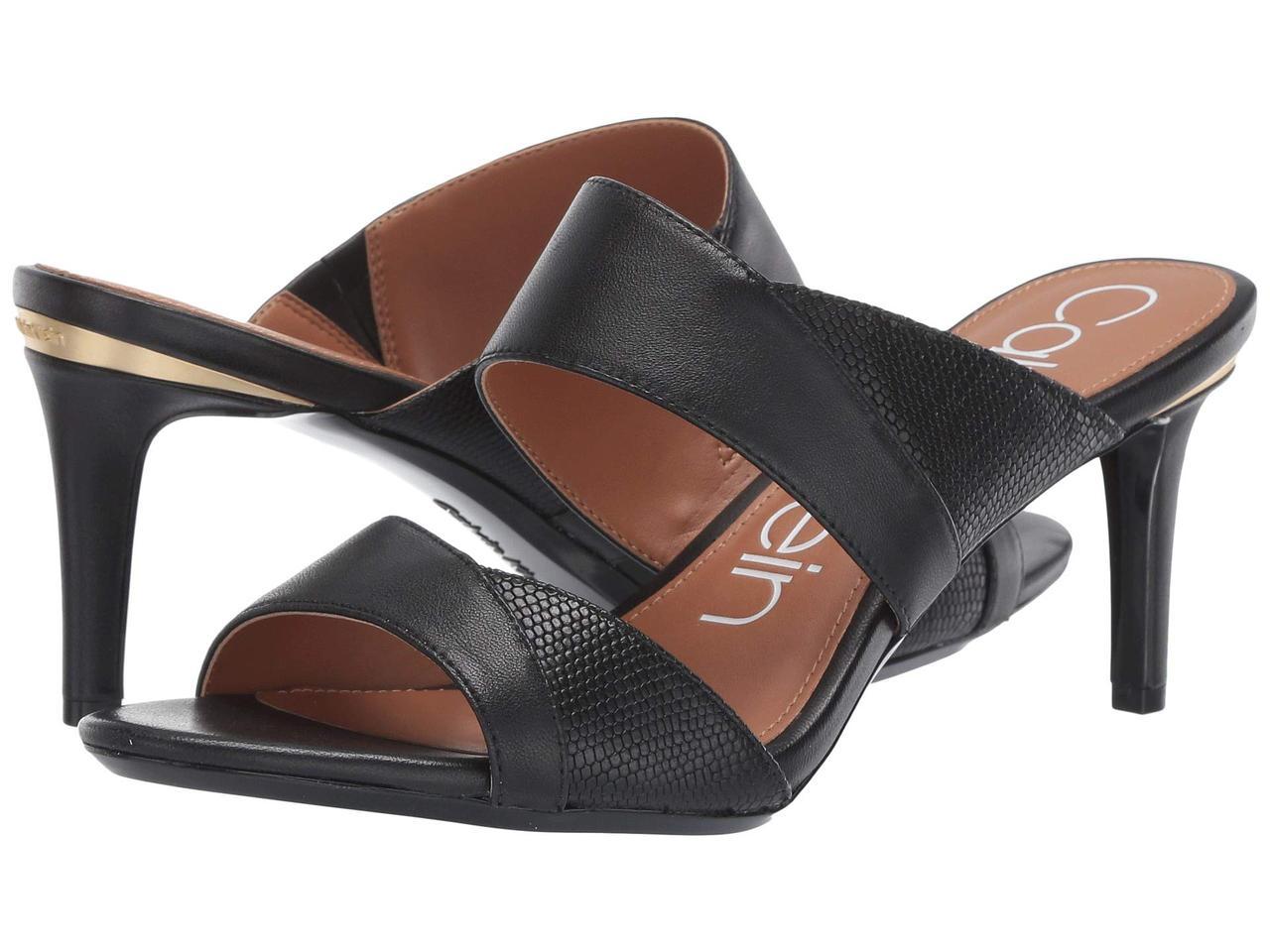 3a2839c98 Туфли на каблуке (Оригинал) Calvin Klein Lynnae Black Nappa/Shiny Lizard -  TopUSA