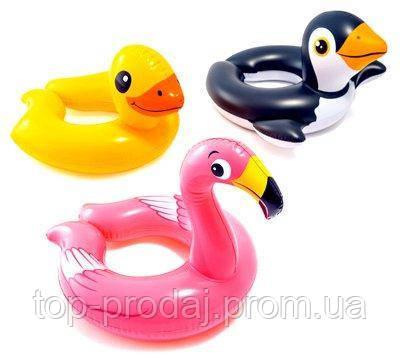 Круг 59220 62*57см животные 3в., Надувной круг фламинго, Надувной круг утка,пингвин, Круг для плавания детский
