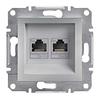 Розетка компьютерная двойная RJ45 категория 6 UTP Алюминий Schneider Asfora plus (EPH4800161)