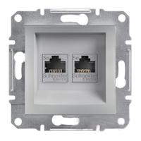 Розетка компьютерная двойная RJ45 категория 6 UTP Алюминий Schneider Asfora plus (EPH4800161), фото 1