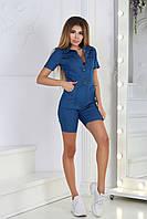 Молодежный женский джинсовый комбинезон шортами с рубашечным воротом, на металлических пуговицах