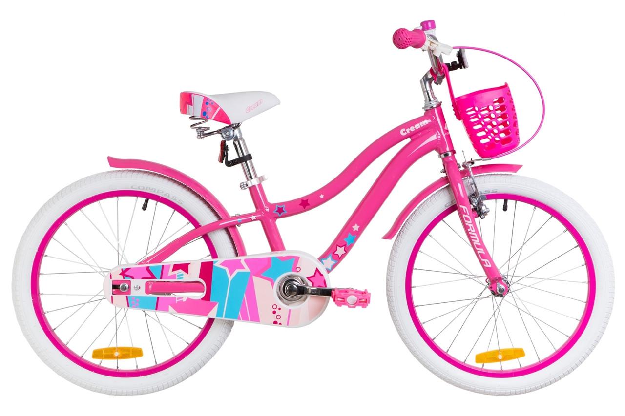 """Велосипед 20"""" Formula CREAM 14G Al с крылом St, с корзиной Pl 2019 (розовый с голубым)"""