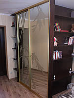 Шкаф-купе зеркало с пескоструйным рисунком, фото 1