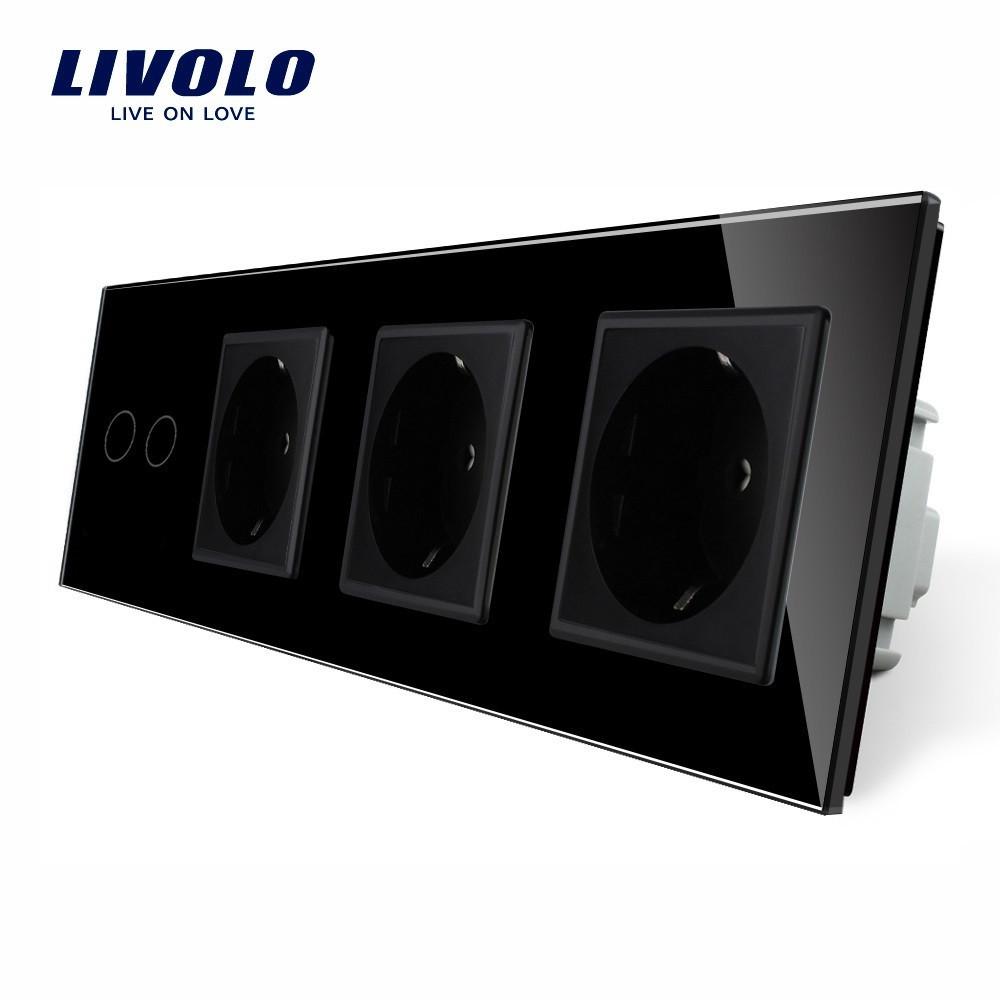 Сенсорный выключатель на две линии с тремя розетками Livolo, цвет черный, стекло (VL-C702/C7C3EU-12)