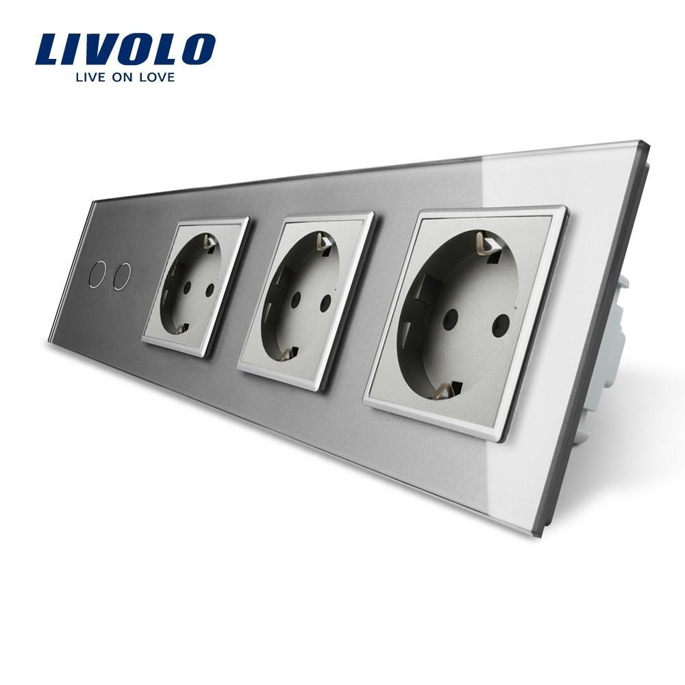Сенсорный выключатель на две линии с тремя розетками Livolo, цвет серый, стекло (VL-C702/C7C3EU-15)