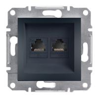 Розетка компьютерная двойная RJ45 категория 6 UTP Антрацит Schneider Asfora plus (EPH4800171), фото 1