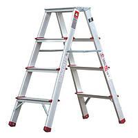 ✅ Стремянка алюминиевая двухсторонняя 4 ступени, высота 880мм INTERTOOL LT-1104