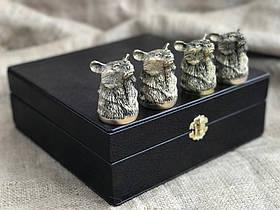 Набір бронзових чарок Nb Art Ведмідь 4 шт 480028