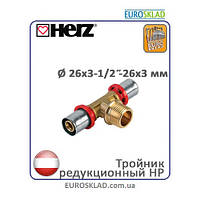"Пресс-фитинг тройник редукционный НР Herz д.26x3-1/2""-26x3 мм. Австрия."