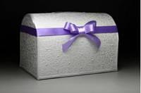 Сундучок для денег на свадьбе в фиолетовом цвете