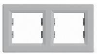 Рамка двухпостовая горизонтальная Алюминий Schneider Asfora plus (EPH5800261), фото 1