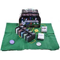Покерный набор на 200 фишек с номиналом в металлической коробке.№200т-3,все для покера