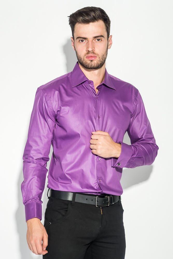 Мужская рубашка с длинным рукавом NINO PACO сиреневая