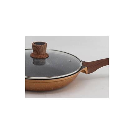 Сковорода с крышкой гранитное покрытие ручка под дерево Vissner VS 7701 3 размера, фото 2