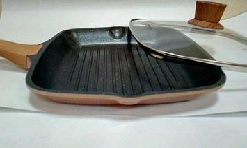 Сковорідка для гриля з кришкою Vissner VS 7741-26 велика квадратна 26*26 см гранітне покриття, фото 2