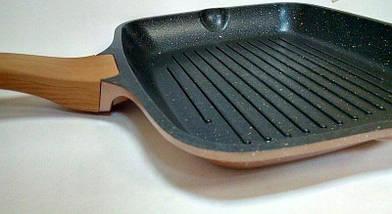 Сковорідка для гриля з кришкою Vissner VS 7741-26 велика квадратна 26*26 см гранітне покриття, фото 3