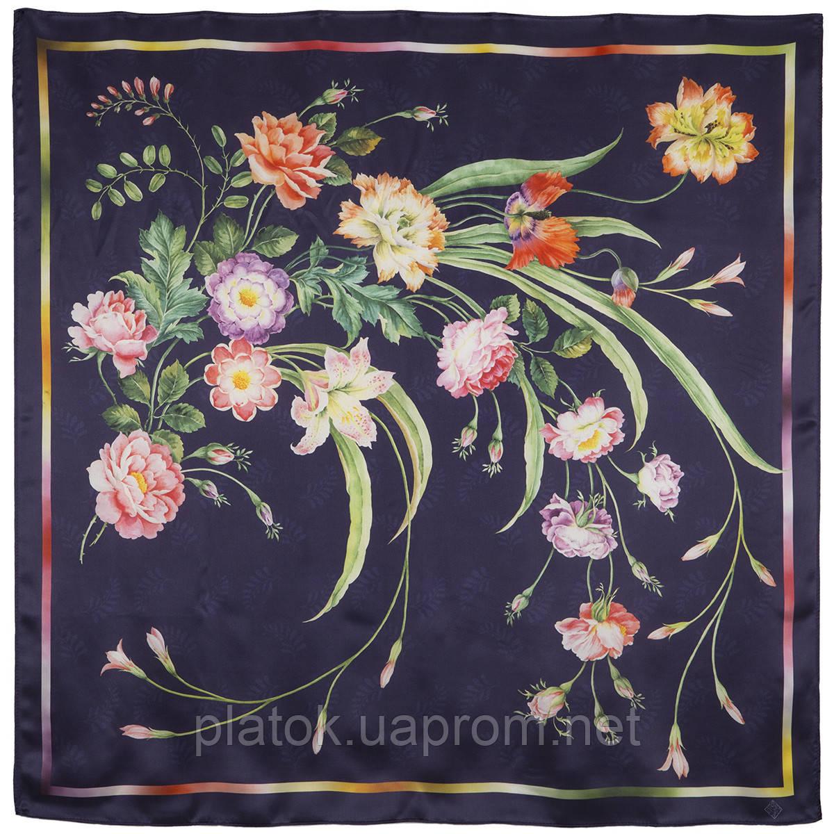 Лунный сад 10018-14, павлопосадский платок (атлас) шелковый с подрубкой