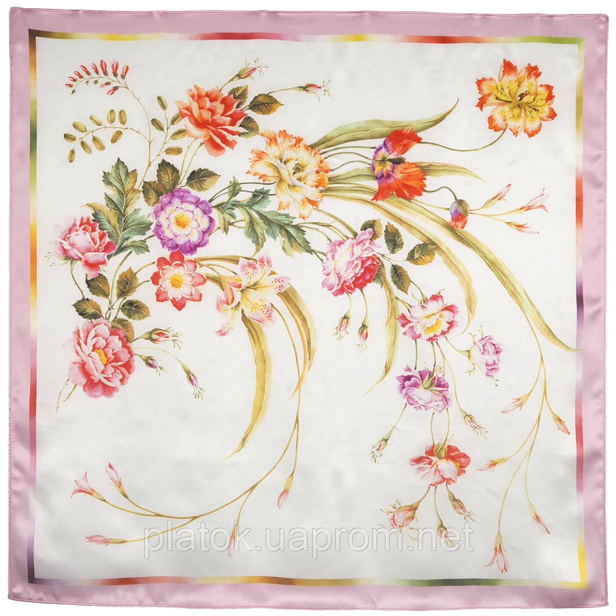 Лунный сад 10018-4, павлопосадский платок (атлас) шелковый с подрубкой