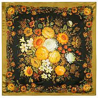 Жостовский букет 10063-2, павлопосадский платок (атлас) шелковый с подрубкой, фото 1