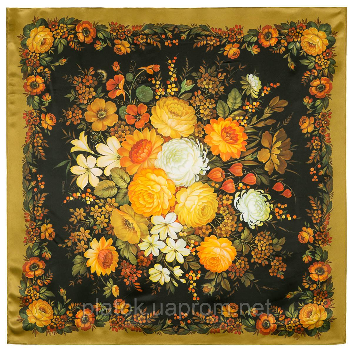 Жостовский букет 10063-2, павлопосадский платок (атлас) шелковый с подрубкой