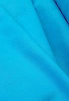 Льняная сорочечная ткань ярко - бирюзового цвета, фото 1