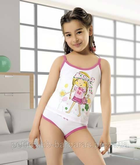 Комплект белья для девочки (майка+трусы) с принтом Девочка (Oztas, Турция)