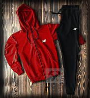 Спортивный костюм New Balance красного и черного цвета (люкс копия)