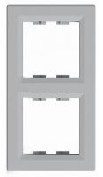 Рамка двухпостовая вертикальная Алюминий Schneider Asfora plus (EPH5810261), фото 1