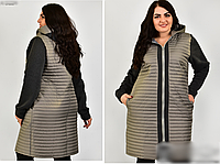 Куртка комбинированная большого размера, с 48-60 размер, фото 1