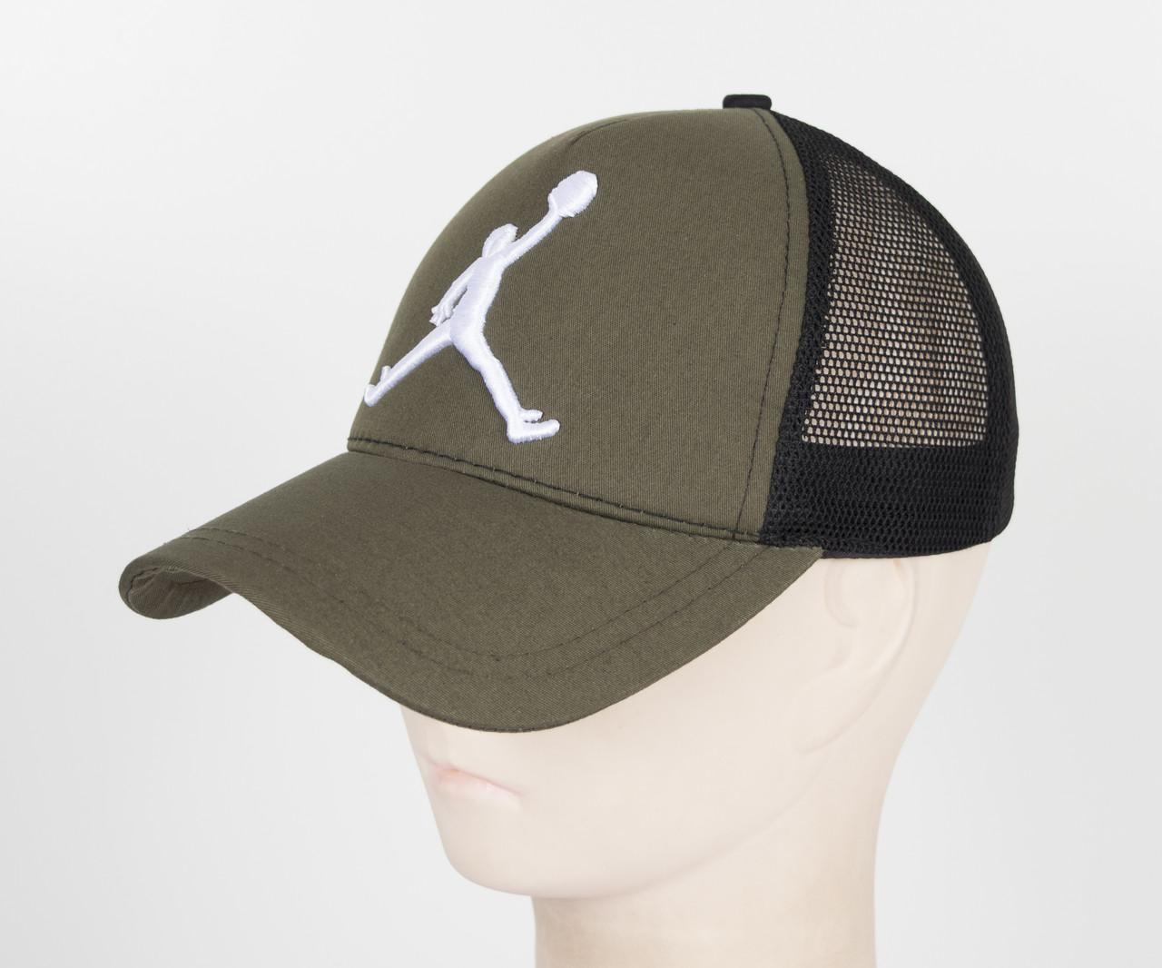 Бейсболка вышивка сетка J1901 Хаки